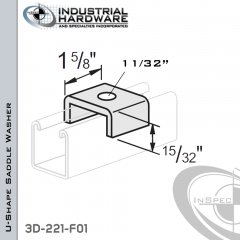 U-Shape Saddle Washer From Steel-E.G. (Zinc Plated) With 11/32 in. Hole (1/4 in. Bolt)