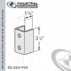 Splice Clevis From Steel-E.G. (Zinc Plated) With 2-Holes For 1-5/8 in. Strut