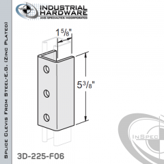 Splice Clevis From Steel-E.G. (Zinc Plated) With 3-Holes For 1-5/8 in. Strut