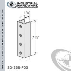 Splice Clevis From Steel-E.G. (Zinc Plated) With 4-Holes For 1-5/8 in. Strut