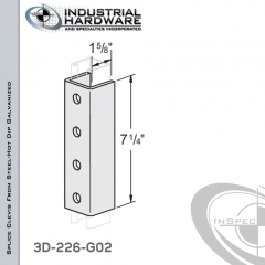 Splice Clevis From Steel-Hot Dip Galv. With 4-Holes For 1-5/8 in. Strut