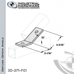 15 Degree Obtuse (Open) Angle From Steel-E.G. (Zinc Plated) With 3-5/16 in. Leg And 2-Holes