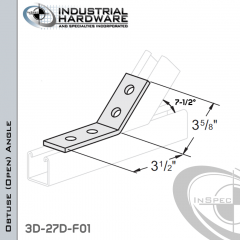 7-1/2 Degree Obtuse (Open) Angle From Steel-E.G. (Zinc Plated) With 3-1/2 in. Leg And 4-Holes