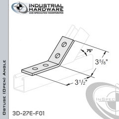 75 Degree Obtuse (Open) Angle From Steel-E.G. (Zinc Plated) With 3-1/2 in. Leg And 4-Holes
