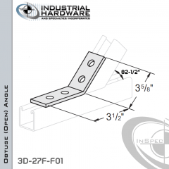 82-1/2 Degree Obtuse (Open) Angle From Steel-E.G. (Zinc Plated) With 3-1/2 in. Leg And 4-Holes