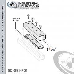 Channel Splice Assembly 4 Hole (Connectors) From Steel-E.G. (Zinc Plated) For 13/16 in. Strut X 7-1/4 in. Long