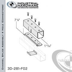 Channel Splice Assembly 4 Hole (Connectors) From Steel-E.G. (Zinc Plated) For 1-5/8 in. Strut X 7-1/4 in. Long