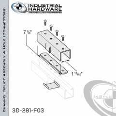 Channel Splice Assembly 4 Hole (Connectors) From Steel-E.G. (Zinc Plated) For 3-1/4 in. Strut X 7-1/4 in. Long