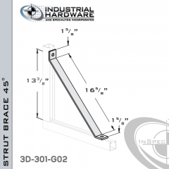 Strut Braces From Steel-Hot Dip Galv. For All Strut X 16-5/8 in. Long