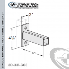 Single Channel Reversible Bracket From Steel-Hot Dip Galv. For All Strut X 18 in. Long