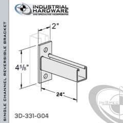 Single Channel Reversible Bracket From Steel-Hot Dip Galv. For All Strut X 24 in. Long