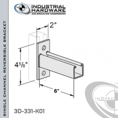 Single Channel Reversible Bracket From Steel-Zinc Yellow Plating For All Strut X 6 in. Long