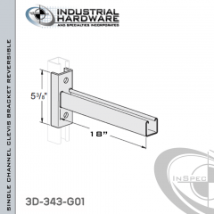 Single Channel Clevis Bracket (Reversible) From Steel-Hot Dip Galv. For All Strut X 18 in. Long