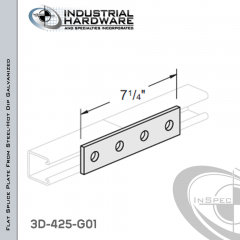 Flat Splice Plate From Steel-Hot Dip Galv. With 4-Holes X 7-1/4 in. Long