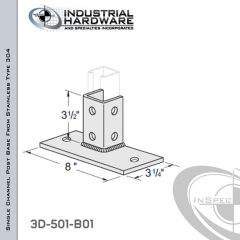 Single Channel Post Base From Stainless Type 304 With 6-Hole Flush Inline 3-Sided Post And 3-1/4 in. X 8 in. 2-Hole Base