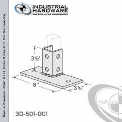 Single Channel Post Base From Steel-Hot Dip Galv. With 6-Hole Flush Inline 3-Sided Post And 3-1/4 in. X 8 in. 2-Hole Base