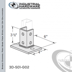 Single Channel Post Base From Steel-Hot Dip Galv. With 6-Hole Flush Inline 3-Sided Post And 4 in.X 6 in. 2-Hole Base