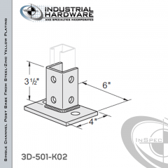 Single Channel Post Base From Steel-Zinc Yellow Plating With 6-Hole Flush Inline 3-Sided Post And 4 in.X 6 in. 2-Hole Base