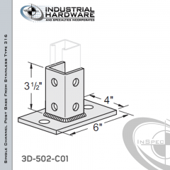 Single Channel Rectangular Post Base From Stainless Type 316 With 6-Hole Inline 3-Sided Post