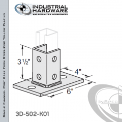 Single Channel Rectangular Post Base From Steel-Zinc Yellow Plating With 6-Hole Inline 3-Sided Post