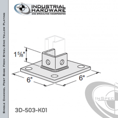 Single Channel Post Base From Steel-Zinc Yellow Plating With 3-Hole Angled 3-Sided Post