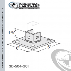 Single Channel Post Base From Steel-Hot Dip Galv. With 3-Hole Inline 3-Sided Post