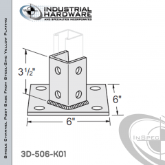 Single Channel Post Base From Steel-Zinc Yellow Plating With 6-Hole Angled 3-Sided Post