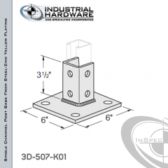 Single Channel Post Base From Steel-Zinc Yellow Plating With 6-Hole Inline 3-Sided Post