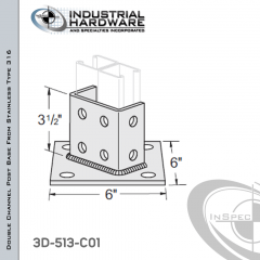 Double Channel Post Base From Stainless Type 316 With 8-Hole Angled 3-Sided Post