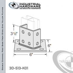 Double Channel Post Base From Steel-Zinc Yellow Plating With 8-Hole Angled 3-Sided Post