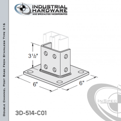 Double Channel Post Base From Stainless Type 316 With 8-Hole Inline 3-Sided Post