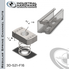 Regular Spring Channel Nuts ( Strut ) Steel-E.G. 3/4-10 X 1/2