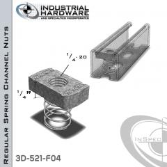Regular Spring Channel Nuts ( Strut ) Steel-E.G. 1/4-20 X 1/4