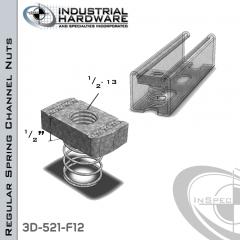 Regular Spring Channel Nuts ( Strut ) Steel-E.G. 1/2-13 X 1/2