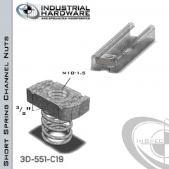 Short Spring Channel Nuts ( Strut ) Stainless Type 316 M10-1.5 X 3/8