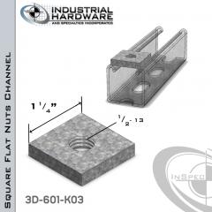 Square Flat Nuts ( Strut ) Steel-Zinc Yellow Plating 1/2-13 Thread X 1/2 Thick