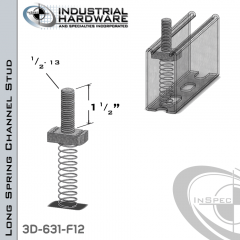 Long Spring Channel Stud ( Strut ) Steel-E.G. 1/2-13 X 1-1/2 Stud
