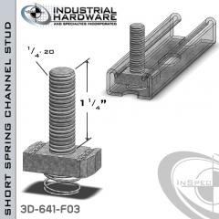 Short Spring Channel Stud ( Strut ) Steel-E.G. 1/4-20 X 1-1/4 Stud