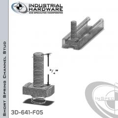 Short Spring Channel Stud ( Strut ) Steel-E.G. 3/8-16 X 3/4 Stud