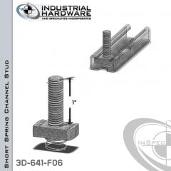Short Spring Channel Stud ( Strut ) Steel-E.G. 3/8-16 X 1 Stud