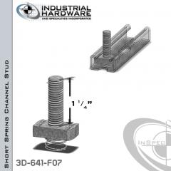Short Spring Channel Stud ( Strut ) Steel-E.G. 3/8-16 X 1-1/4 Stud