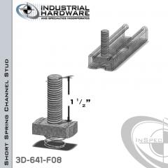 Short Spring Channel Stud ( Strut ) Steel-E.G. 3/8-16 X 1-1/2 Stud