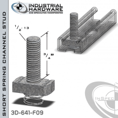 Short Spring Channel Stud ( Strut ) Steel-E.G. 1/2-13 X 3/4 Stud