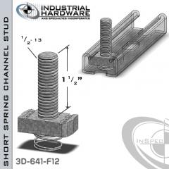 Short Spring Channel Stud ( Strut ) Steel-E.G. 1/2-13 X 1-1/2 Stud