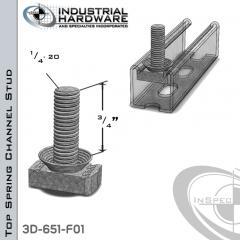 Top Spring Channel Stud ( Strut ) Steel-E.G. 1/4-20 X 3/4 Stud