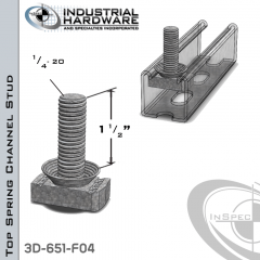 Top Spring Channel Stud ( Strut ) Steel-E.G. 1/4-20 X 1-1/2 Stud