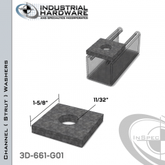 Channel ( Strut ) Washers Steel-Hot Dip Galv. 11/32 in. Hole X 1-5/8 in. Square X 1/4 in. Thick