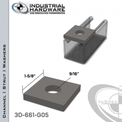 Channel ( Strut ) Washers Steel-Hot Dip Galv. 9/16 in. Hole X 1-5/8 in. Square X 1/4 in. Thick