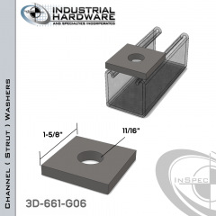 Channel ( Strut ) WashersSteel-Hot Dip Galv. 11/16 in. Hole X 1-5/8 in. Square X 1/4 in. Thick