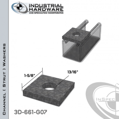 Channel ( Strut ) Washers Steel-Hot Dip Galv. 13/16 in. Hole X 1-5/8 in. Square X 1/4 in. Thick